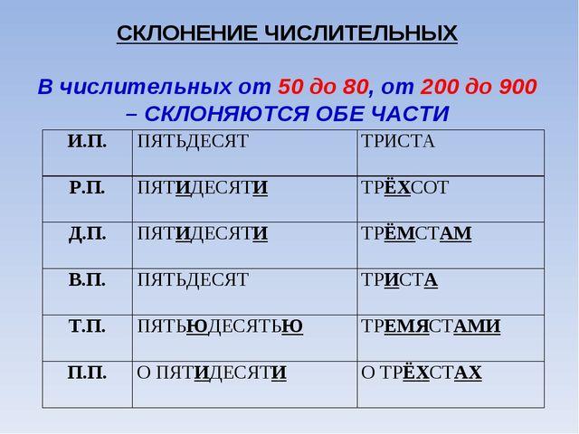 СКЛОНЕНИЕ ЧИСЛИТЕЛЬНЫХ  В числительных от 50 до 80, от 200 до 900 – СКЛОНЯЮТ...