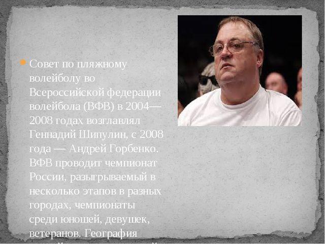 Совет по пляжному волейболу во Всероссийской федерации волейбола (ВФВ) в 2004...
