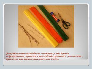 Для работы нам понадобятся : ножницы, клей, бумага гофрированная, проволока д