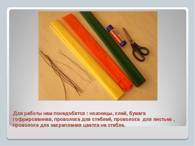 Для работы нам понадобятся : ножницы, клей, бумага гофрированная, проволока д...