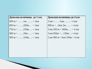 Дополни величины до 1 км, 999 м +……1м…….= 1км 800 м +……200м…= 1км 750 м +……25