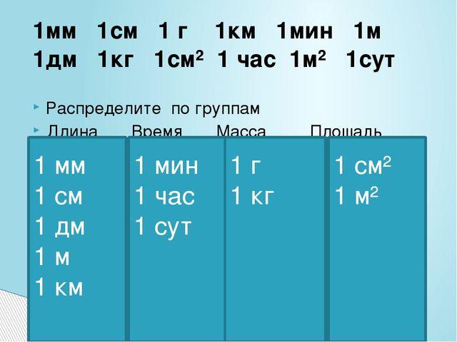 1мм 1см 1 г 1км 1мин 1м 1дм 1кг 1см² 1 час 1м² 1сут Распределите по группам Д...