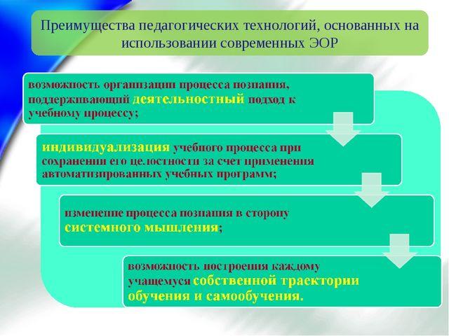 Преимущества педагогических технологий, основанных на использовании современн...