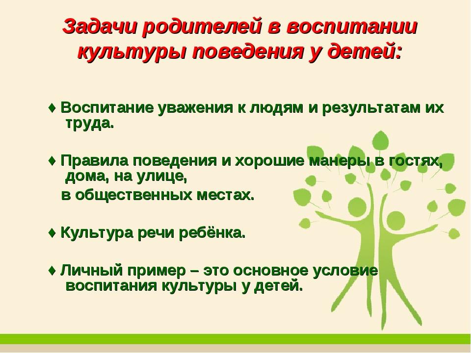 Задачи родителей в воспитании культуры поведения у детей: ♦ Воспитание уважен...