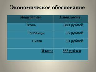 Экономическое обоснование Материалы Стоимость Ткань 360рублей Пуговицы 15рубл