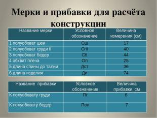 Мерки и прибавки для расчёта конструкции Название мерки Условное обозначение