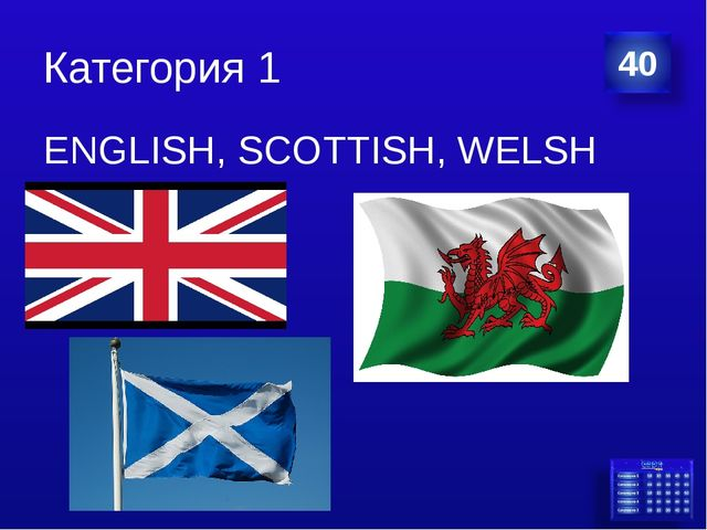 Категория 1 ENGLISH, SCOTTISH, WELSH