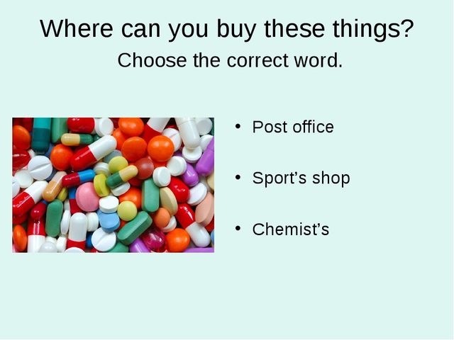 Where can you buy these things? Choose the correct word. Post office Sport's...