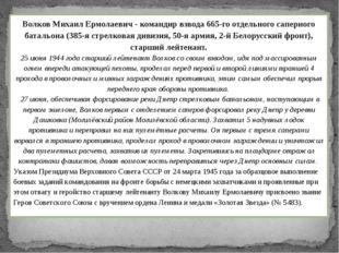 Волков Михаил Ермолаевич - командир взвода 665-го отдельного саперного баталь