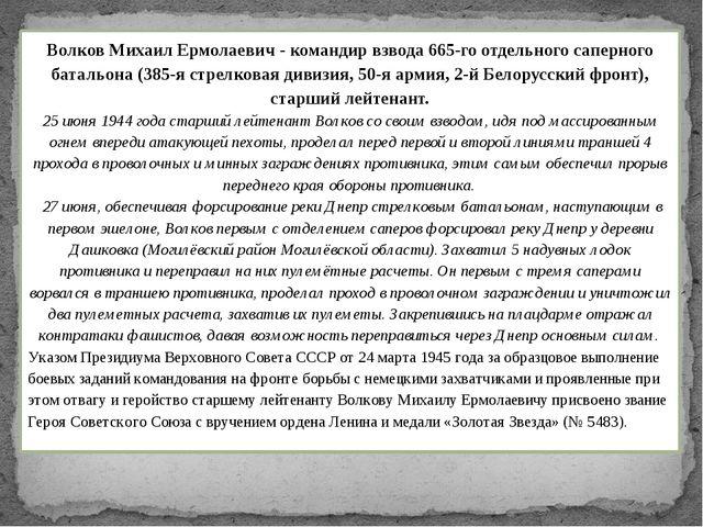 Волков Михаил Ермолаевич - командир взвода 665-го отдельного саперного баталь...