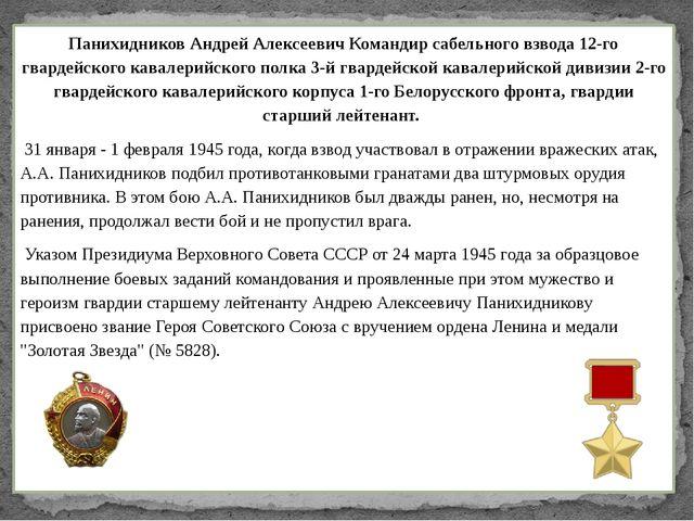 Панихидников Андрей Алексеевич Командир сабельного взвода 12-го гвардейского...