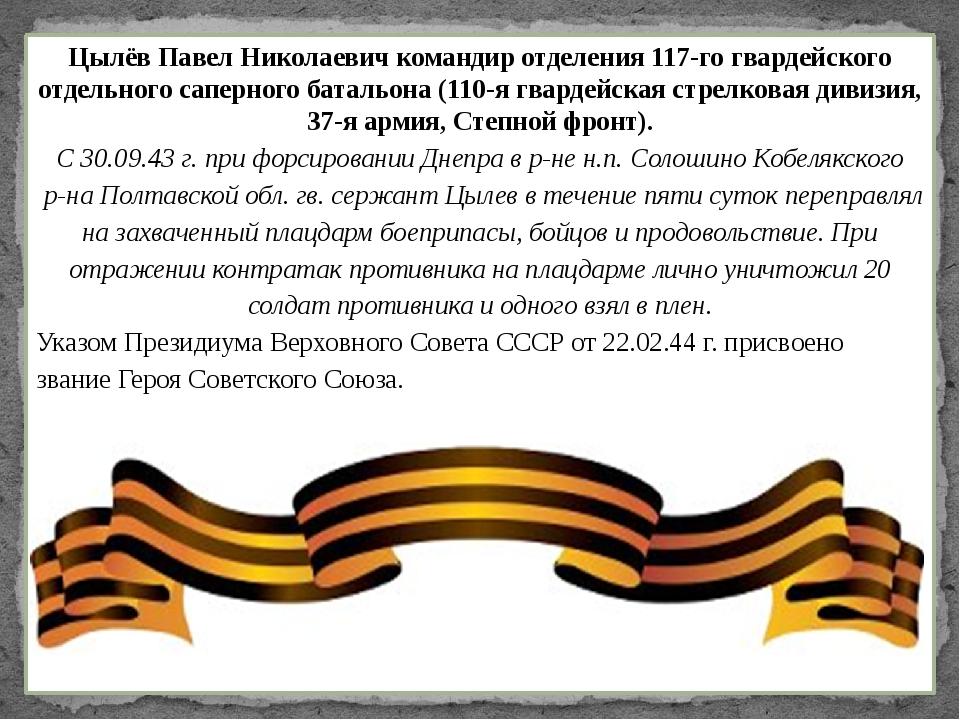 Цылёв Павел Николаевич командир отделения 117-го гвардейского отдельного сапе...