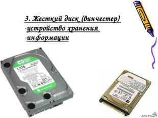 3. Жесткий диск (винчестер) устройство хранения информации
