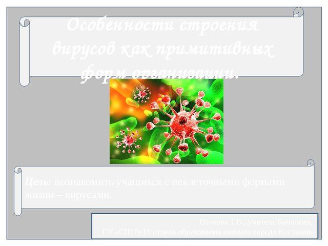 Особенности строения вирусов как примитивных форм организации. Цель: познако...