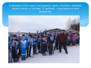 6 февраля 2016 года в загородном парке «Русятка» команда нашей школы, в соста