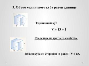 3. Объем единичного куба равен единице Единичный куб Следствие из третьего св
