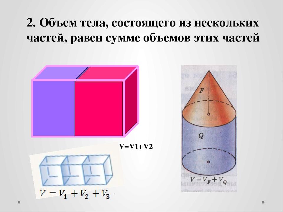 2. Объем тела, состоящего из нескольких частей, равен сумме объемов этих час...