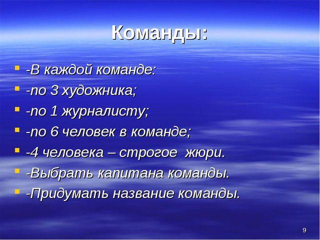 * Команды: -В каждой команде: -по 3 художника; -по 1 журналисту; -по 6 челове...