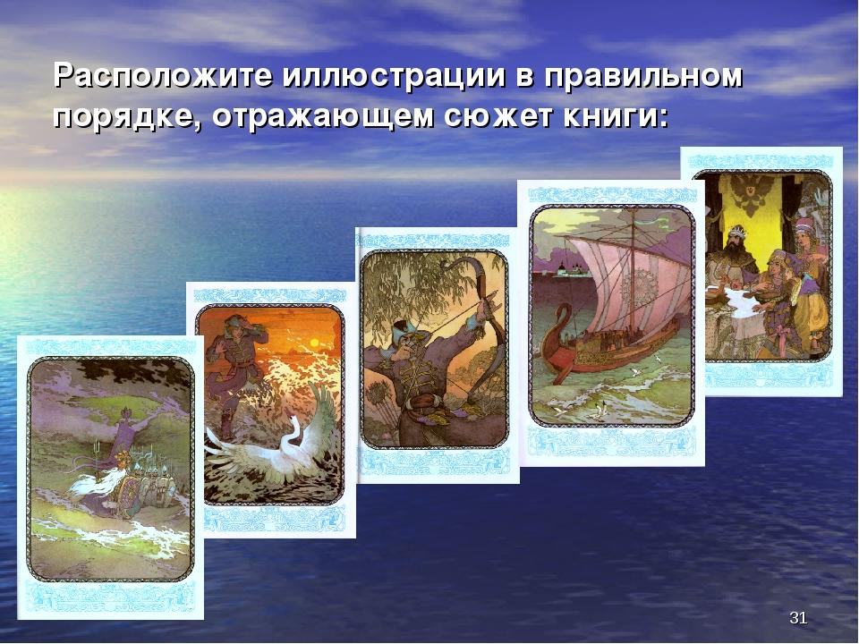 * Расположите иллюстрации в правильном порядке, отражающем сюжет книги: