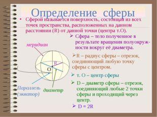 Определение сферы Сферой называется поверхность, состоящая из всех точек прос