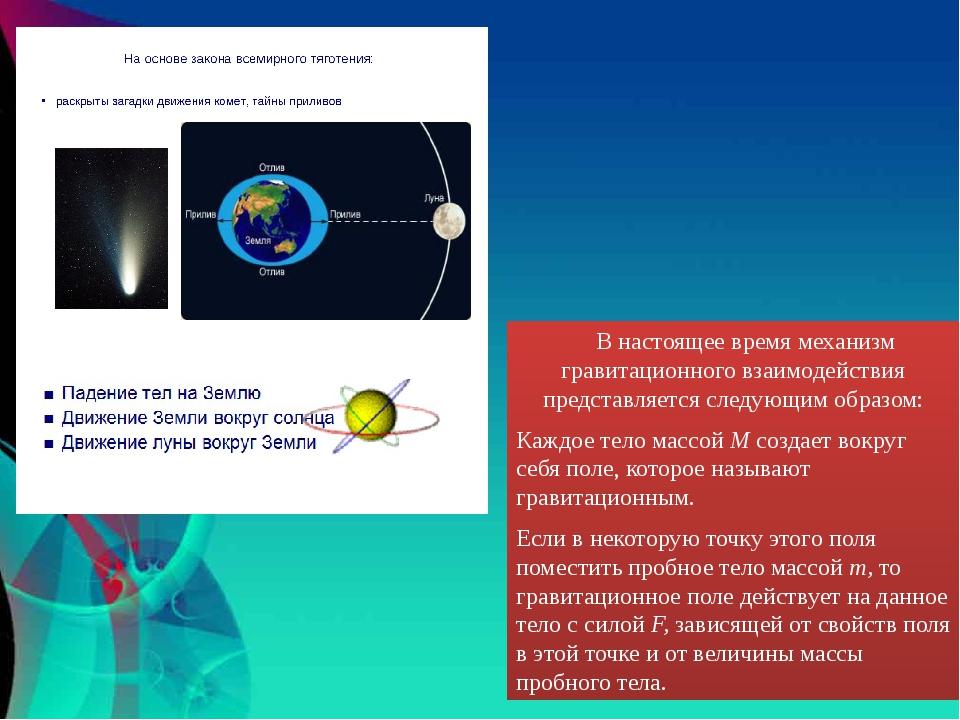 В настоящее время механизм гравитационного взаимодействия представляется сле...