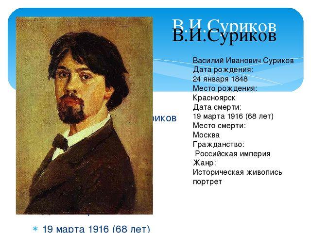 я при рождении: Василий Иванович Суриков Дата рождения: 24 января 1848 Мест...