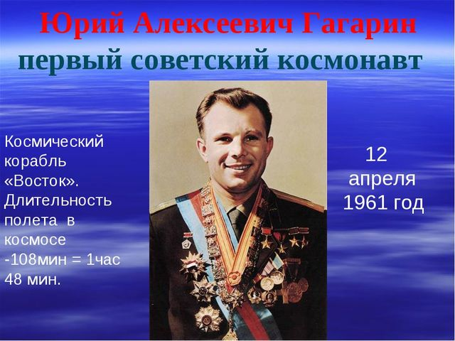 Юрий Алексеевич Гагарин первый советский космонавт 12 апреля 1961 год Космиче...