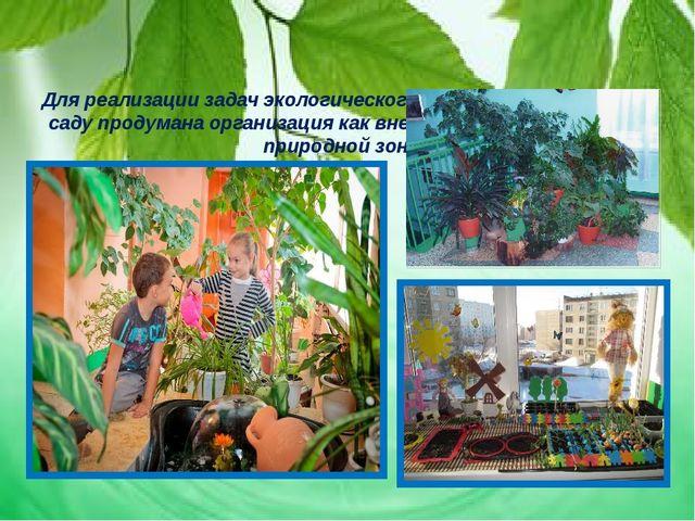 Для реализации задач экологического воспитания в детском саду продумана орга...