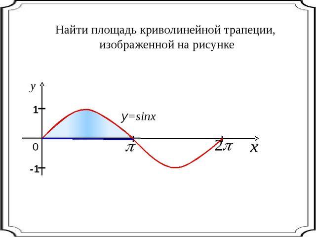 Найти площадь криволинейной трапеции, изображенной на рисунке 0 y=sinx I I 1...