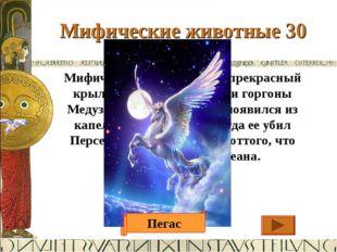 Мифические животные 30 Ответ Мифический белоснежный прекрасный крылатый конь,