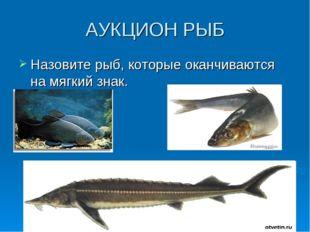 АУКЦИОН РЫБ Назовите рыб, которые оканчиваются на мягкий знак.