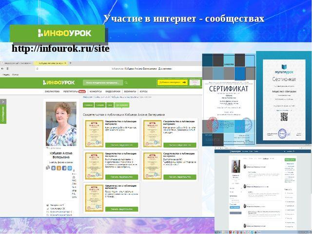 Участие в интернет - сообществах http://infourok.ru/site