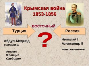 Турция Крымская война 1853-1856 Николай I Александр II Россия ВОСТОЧНЫЙ нет с