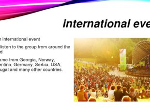 international event is an international event can listen to the group from ar