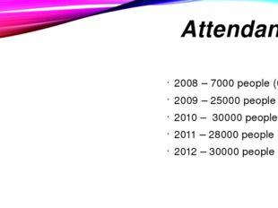 Attendance 2008 – 7000 people (6%) 2009 – 25000 people (21%) 2010 – 30000 peo