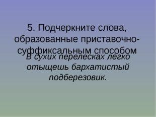 5. Подчеркните слова, образованные приставочно-суффиксальным способом В сухих