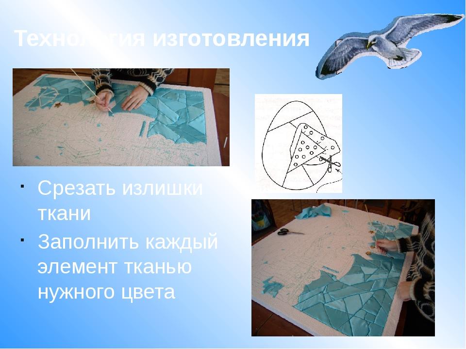 Срезать излишки ткани Заполнить каждый элемент тканью нужного цвета Технолог...