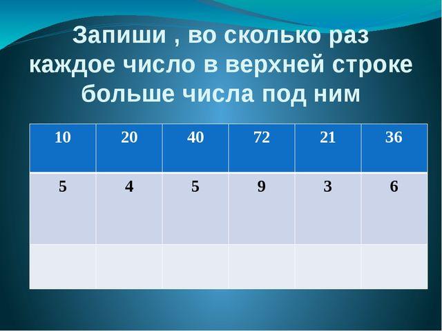 Запиши , во сколько раз каждое число в верхней строке больше числа под ним 10...
