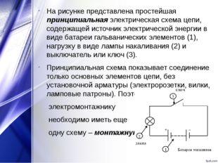 На рисунке представлена простейшая принципиальная электрическая схема цепи, с
