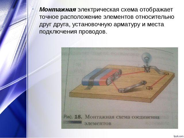 Монтажная электрическая схема отображает точное расположение элементов относи...
