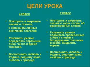 ЦЕЛИ УРОКА 4 КЛАСС Повторить и закрепить знания о глаголе, о написании личных