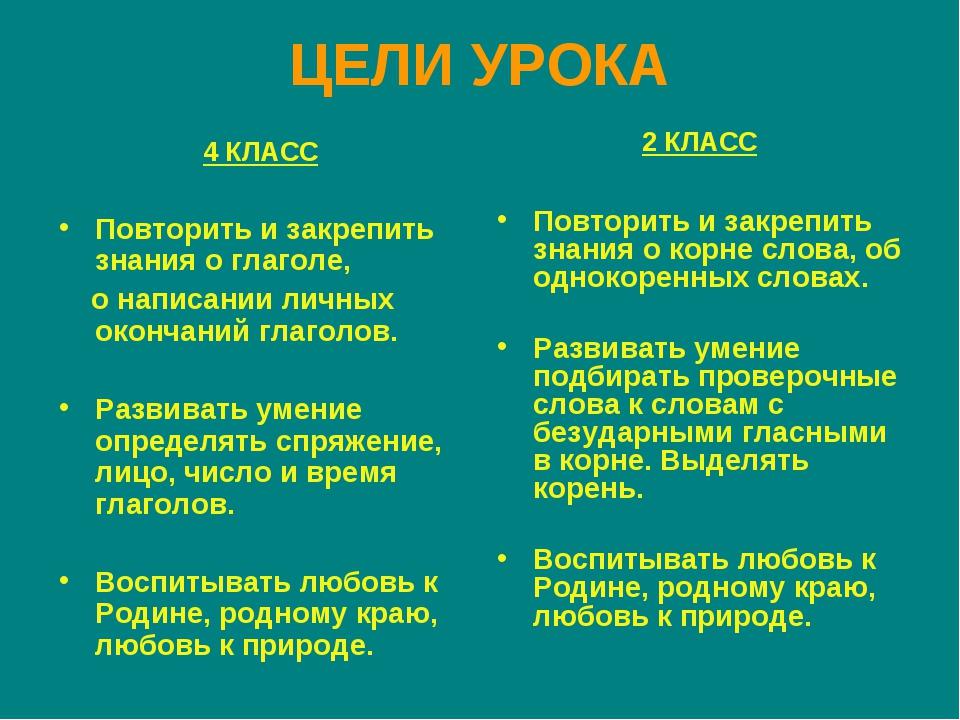 ЦЕЛИ УРОКА 4 КЛАСС Повторить и закрепить знания о глаголе, о написании личных...
