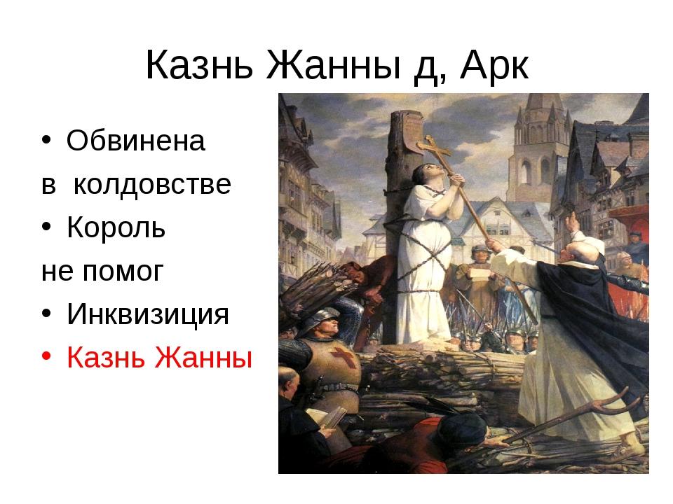 Казнь Жанны д, Арк Обвинена в колдовстве Король не помог Инквизиция Казнь Жанны