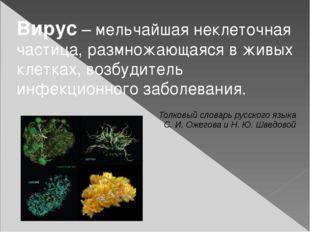 Вирус – мельчайшая неклеточная частица, размножающаяся в живых клетках, возбу