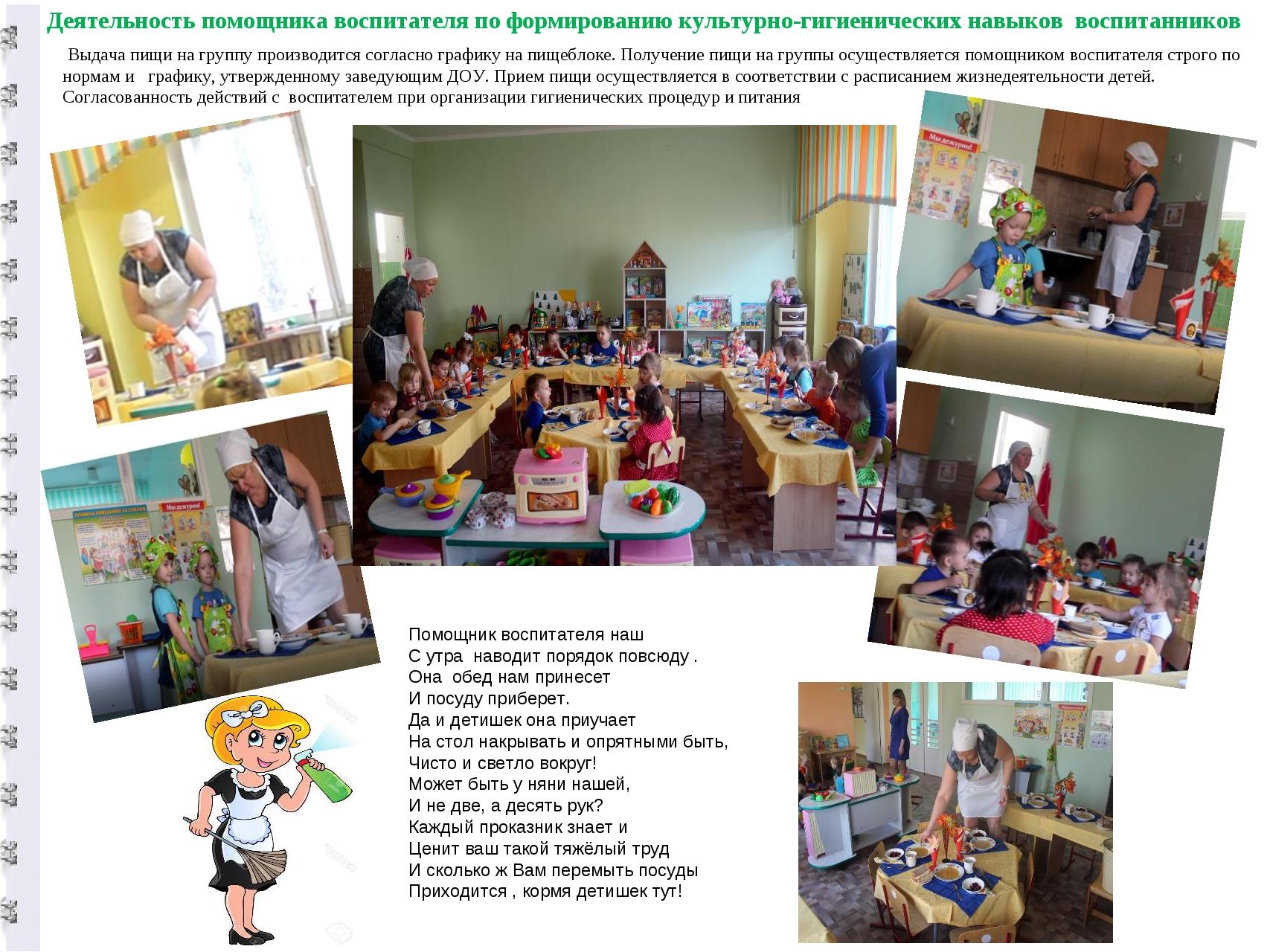 Деятельность помощника воспитателя по формированию культурно-гигиенических на...