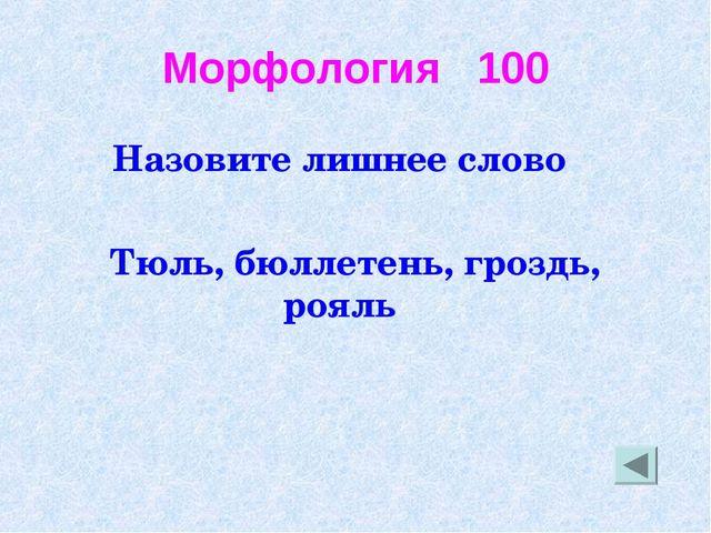 Морфология 100 Назовите лишнее слово Тюль, бюллетень, гроздь, рояль