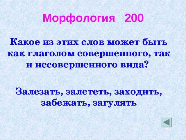 Морфология 200 Какое из этих слов может быть как глаголом совершенного, так и...