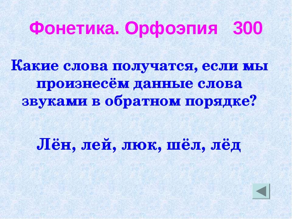Фонетика. Орфоэпия 300 Какие слова получатся, если мы произнесём данные слова...