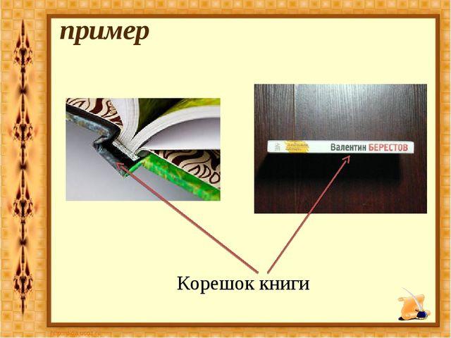 Корешок книги пример
