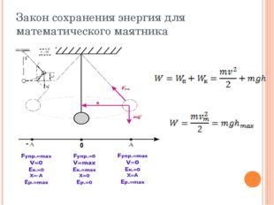Закон сохранения энергия для математического маятника